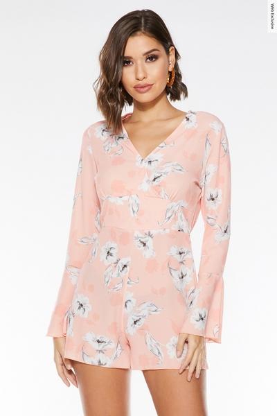 Peach Floral Long Sleeve Playsuit